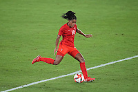 YOKOHAMA, JAPAN - AUGUST 6: Ashley Lawrence #10 of Canada during a game between Canada and Sweden at International Stadium Yokohama on August 6, 2021 in Yokohama, Japan.
