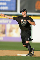 April 14, 2010: Erik Wetzel of the Modesto Nuts before game against the Rancho Cucamonga Quakes at The Epicenter in Rancho Cucamonga,CA.  Photo by Larry Goren/Four Seam Images