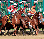 Gun Runner (no.6) wins the Grade I 2017 Whitney Stakes  August 5 at Saratoga Race Course, Saratoga Springs, NY.  The winner, ridden by Florent Geroux and trained by Steve Asmussen, won by 5 lengths in the 1 1/8 mile race against 6 opponents.  Gun Runner finished the race with another horse's thrown shoe entangled in his tail.  Keen Ice stumbled at the start. (Bruce Dudek/Eclipse Sportswire)