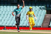 13th March 2020, Sydney Cricket Ground, Sydney, Australia;  Trent Boult appeals. International One Day Cricket. Australia versus New Zealand Blackcaps, Chappell–Hadlee Trophy, Game 1.