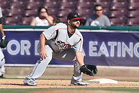 Yonder Alonso of the Lake Elsinore Storm at first base during a rehab assignment game against the Inland Empire 66ers at San Manuel Stadium on May 27, 2015 in San Bernardino, California. Lake Elsinore defeated Inland Empire, 12-9. (Larry Goren/Four Seam Images)