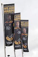 Photo: Richard Lane/Richard Lane Photography. Wasps v London Irish. Aviva Premiership. 21/12/2014. Wasps' first game at the Ricoh Arena as their new home. Wasps flags.