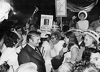Davis makes it official - he's Campaigning. Surrounded by straw-hatted supporters in Belleville, right in the heartland of Conservative Ontario, Premier William Davis yesterday officially launches his campaign for re-election in the provincial ballotting<br /> <br /> Griffin, Doug<br /> Picture, 1971,