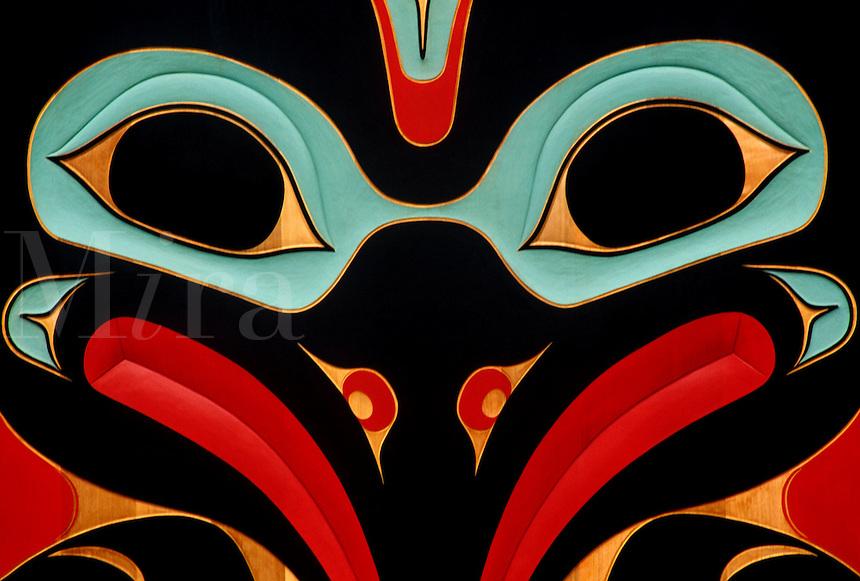 native painting designed by Charles Brown on Clan house at Totem Bight State ParkKatecikanAlaska.