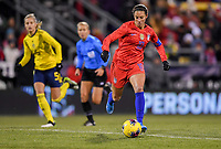 COLUMBUS, OH - NOVEMBER 07: Carli Loyd #10 of the United States turns with the ball during a game between Sweden and USWNT at MAPFRE Stadium on November 07, 2019 in Columbus, Ohio.