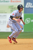 Brock Stassi (28) of the Reading Fightin Phils leads off second base during a game against the New Britain Rock Cats at New Britain Stadium on July 13, 2014 in New Britain, Connecticut. Reading defeated New Britain 6-4.  (Gregory Vasil/Four Seam Images)