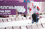 Sochi, RUSSIA - Mar 9 2014 -  Sébastien Fortier in Men's Cross Country 15km Sitting during the 2014 Paralympic Winter Games in Sochi, Russia.  (Photo: Matthew Murnaghan/Canadian Paralympic Committee)