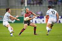 20121020 Copyright onEdition 2012©.Free for editorial use image, please credit: onEdition..Charlie Hodgson of Saracens covers Fabrice Estebanez of Racing Metro 92 (right) during the Heineken Cup Round 2 match between Saracens and Racing Metro 92 at the King Baudouin Stadium, Brussels on Saturday 20th October 2012 (Photo by Rob Munro)..For press contacts contact: Sam Feasey at brandRapport on M: +44 (0)7717 757114 E: SFeasey@brand-rapport.com..If you require a higher resolution image or you have any other onEdition photographic enquiries, please contact onEdition on 0845 900 2 900 or email info@onEdition.com.This image is copyright the onEdition 2012©..This image has been supplied by onEdition and must be credited onEdition. The author is asserting his full Moral rights in relation to the publication of this image. Rights for onward transmission of any image or file is not granted or implied. Changing or deleting Copyright information is illegal as specified in the Copyright, Design and Patents Act 1988. If you are in any way unsure of your right to publish this image please contact onEdition on 0845 900 2 900 or email info@onEdition.com