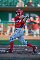 Alvaro Rubalcaba (4) of the Orem Owlz bats against the Ogden Raptors at Lindquist Field on June 26, 2018 in Ogden, Utah. The Raptors defeated the Owlz 6-5. (Stephen Smith/Four Seam Images)