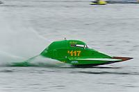 13-14 June, 2009, APBA Inboards, Walled Lake, Novi, MI. USA.Eric Pomber, S-117, 2.5 Litre Stock hydroplane.©F. Peirce Williams 2009 USA.F.Peirce Williams.photography.ref: RAW (.NEF) File Available