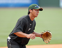 Infielder Michael Pasek (2) of the Greensboro Grasshoppers prior to a game against the Greenville Drive on June 14, 2010, at Fluor Field at the West End in Greenville, S.C. Photo by: Tom Priddy/Four Seam Images