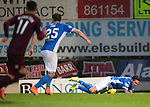 St Johnstone v Hearts…10.08.16..  McDiarmid Park…BetFred Cup<br />Danny Swanson is fouled by Alim Ozturk for a penalty<br />Picture by Graeme Hart.<br />Copyright Perthshire Picture Agency<br />Tel: 01738 623350  Mobile: 07990 594431