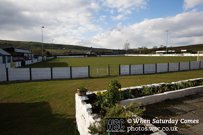 Bacup Borough 4 Holker Old Boys 1, 25/04/2016. Brain Boys West View Stadium, NorthWest Counties League Division One. A view from inside the Brain Boys West View Stadium before Bacup Borough play Holker Old Boys in a NorthWest Counties League division one fixture. Formed as Bacup in 1879, the club moved into their current home in 1889 and have been known as Bacup Borough since the 1920s, apart from a brief recent spell when they added the name Rossendale to their name. With both teams challenging for play-off places, Bacup Borough won this fixture by 4-1, watched by a crowd of 50. Photo by Colin McPherson.