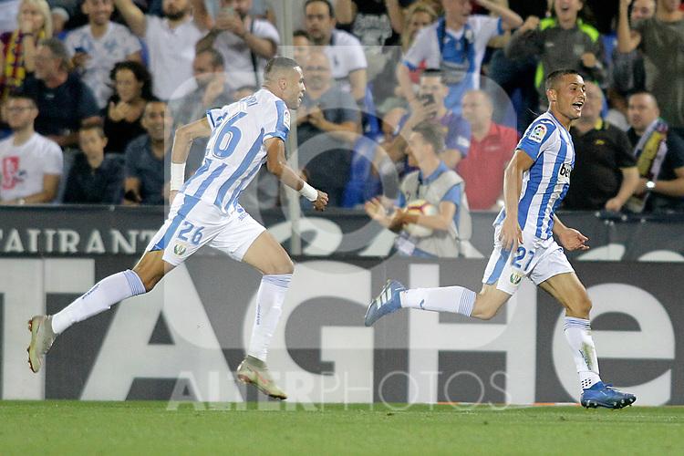 CD Leganes' Youssef En-Nesyri (l) and Oscar Rodriguez Arnaiz celebrate goal during La Liga match. September 26,2018. (ALTERPHOTOS/Acero)
