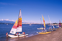 "Vancouver, BC, British Columbia, Canada - Sailing at Jericho Beach,  English Bay and ""North Shore"" Mountains (Coast Mountains)"
