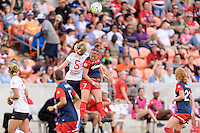 Houston, TX - Sunday Oct. 09, 2016: Samantha Mewis, Christine Nairn during the National Women's Soccer League (NWSL) Championship match between the Washington Spirit and the Western New York Flash at BBVA Compass Stadium. The Western New York Flash win 3-2 on penalty kicks after playing to a 2-2 tie.