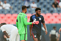 DENVER, CO - JUNE 3: Zack Steffen #1 of the United States ad Mark McKenzie #15 during a game between Honduras and USMNT at Empower Field at Mile High on June 3, 2021 in Denver, Colorado.