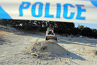 FAO JANET TOMLINSON, DAILY MAIL PICTURE DESK<br /> Pictured: A small digger spreads soil where special forensics police officers search for fragments in a field in Kos, Greece. Saturday 01 October 2016<br /> Re: Police teams led by South Yorkshire Police, searching for missing toddler Ben Needham on the Greek island of Kos have moved to a new area in the field they are searching.<br /> Ben, from Sheffield, was 21 months old when he disappeared on 24 July 1991 during a family holiday.<br /> Digging has begun at a new site after a fresh line of inquiry suggested he could have been crushed by a digger.