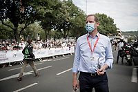 Tour boss Christian Prudhomme making sure all new (Covid19-related) restrictions are followed to the letter at the start in Clermont-Ferrand<br /> <br /> Stage 1: Clermont-Ferrand to Saint-Christo-en-Jarez (218km)<br /> 72st Critérium du Dauphiné 2020 (2.UWT)<br /> <br /> ©kramon