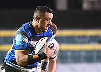 19th February 2021; Recreation Ground, Bath, Somerset, England; English Premiership Rugby, Bath versus Gloucester; Taulupe Faletau of Bath drives for the try line