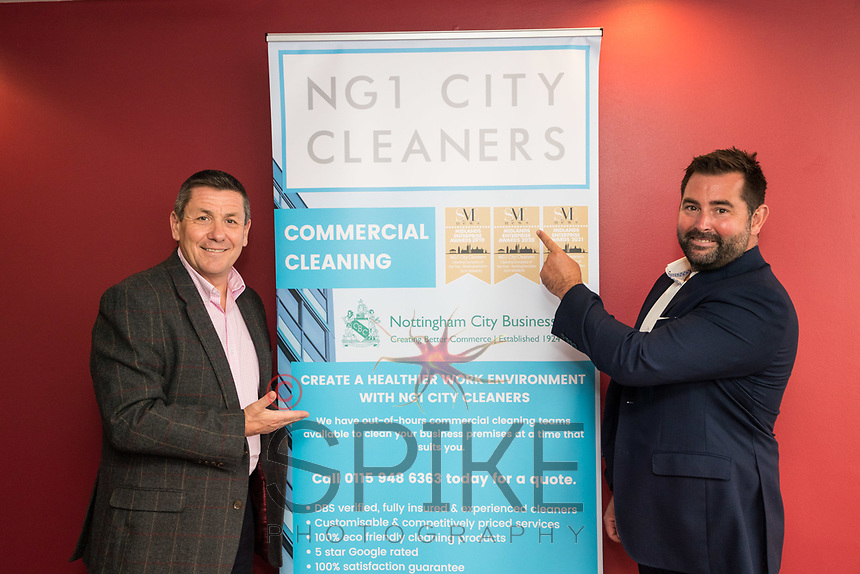 Nigel Rowlson new President of Nottingham City Business Club and Will Bottomley of NG1 City Cleaners, club sponsor