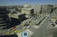 SYRIA Aleppo, christian cathedral and traffic on main road / SYRIEN Aleppo , christliche Kathedrale und Strassenverkehr