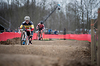 Sanne Cant (BEL/Iko-crelan) over the challenging dirt pump track<br /> <br /> Women's Race<br /> CX GP Leuven (BEL) 2020<br />  <br /> ©kramon