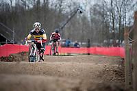 Sanne Cant (BEL/Iko-crelan) over the challenging dirt pump track<br /> <br /> Women's Race<br /> CX GP Leuven (BEL) 2020<br />  <br /> ©kramon