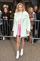 Clara Paget<br /> arrives for the Topshop Unique AW17 show as part of London Fashion Week AW17 at Tate Modern, London.<br /> <br /> <br /> ©Ash Knotek  D3232  19/02/2017