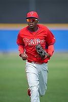 Philadelphia Phillies Juan Luis (17) during a minor league Spring Training game against the Toronto Blue Jays on March 26, 2016 at Englebert Complex in Dunedin, Florida.  (Mike Janes/Four Seam Images)