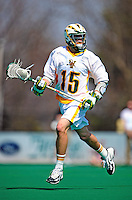 3 April 2010: University of Vermont Catamounts' Attacker/Midfielder Garrett Virtue, a Freshman from Rye, NY, in action against the Binghamton University Bearcats at Moulton Winder Field in Burlington, Vermont. The Catamounts defeated the visiting Bearcats 11-8 in Vermont's opening home game of the 2010 season. Mandatory Credit: Ed Wolfstein Photo