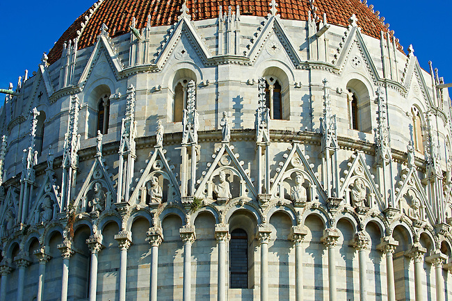 Medieval Sculptures of the  exterior of the Bapistry of Pisa, Italy