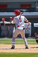 Jonathan India (3) of the Greeneville Reds at bat against the Burlington Royals at Burlington Athletic Stadium on July 8, 2018 in Burlington, North Carolina. The Royals defeated the Reds 4-2.  (Brian Westerholt/Four Seam Images)