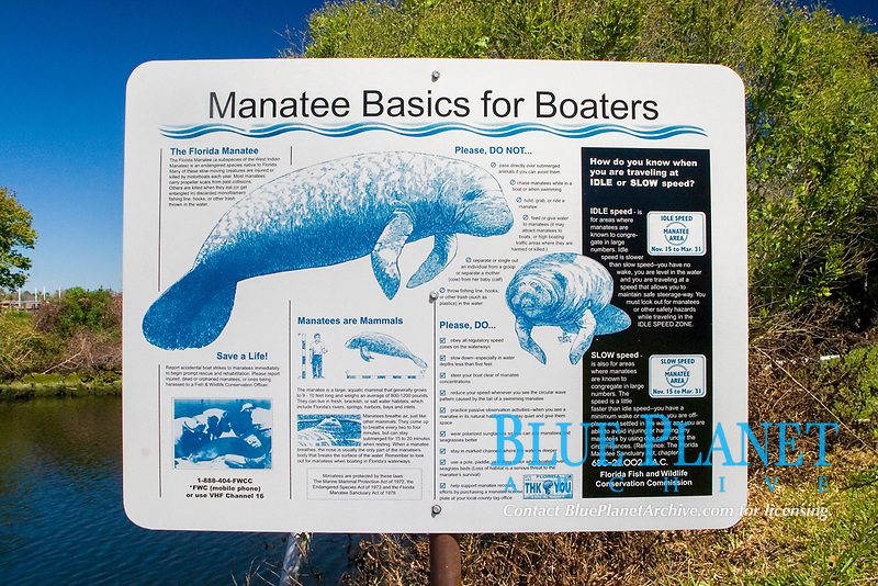 sign informing boaters of the basics rules for interaction with manatees. Homossassa River, Florida, USA