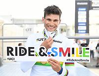 Picture by Simon Wilkinson/SWpix.com - 25/09/2020 - Cycling - UCI 2020 Road World Championships IMOLA - EMILIA-ROMAGNA ITALY - Individual Time Trial Men Elite -<br /> ITALY, Filippo GANNA ride and smile - SANTINI