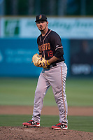 Modesto Nuts relief pitcher Austin Hutchison (19) prepares to deliver a pitch during a California League game against the San Jose Giants at San Jose Municipal Stadium on May 15, 2018 in San Jose, California. Modesto defeated San Jose 7-5. (Zachary Lucy/Four Seam Images)