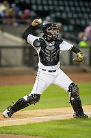Winston-Salem Dash catcher Omar Narvaez (22) makes a throw to second base against the Potomac Nationals at BB&T Ballpark on April 30, 2015 in Winston-Salem, North Carolina.  The Nationals defeated the Dash 5-4..  (Brian Westerholt/Four Seam Images)