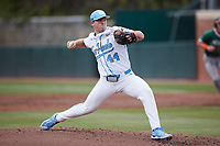 North Carolina Tar Heels starting pitcher Austin Love (44) in action against the Miami Hurricanes at Boshamer Stadium on April 23, 2021 in Chapel Hill, North Carolina. (Andy Mead/Four Seam Images)