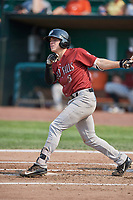 Nathan Eaton (8) of the Idaho Falls Chukars bats against the Ogden Raptors at Lindquist Field on July 29, 2018 in Ogden, Utah. The Raptors defeated the Chukars 20-19. (Stephen Smith/Four Seam Images)