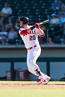 Mesa Solar Sox first baseman David MacKinnon (20), of the Los Angeles Angels organization, follows through on his swing during an Arizona Fall League game against the Salt River Rafters at Sloan Park on October 30, 2018 in Mesa, Arizona. Salt River defeated Mesa 14-4 . (Zachary Lucy/Four Seam Images)