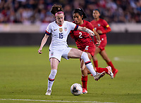 HOUSTON, TX - JANUARY 31: Rose Lavelle #16 of the United States back heels the ball during a game between Panama and USWNT at BBVA Stadium on January 31, 2020 in Houston, Texas.