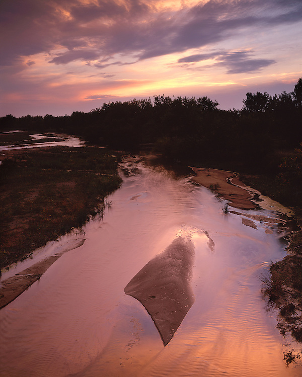 Sunset light on the South Platte River near Ovid; Sedgwick County, CO