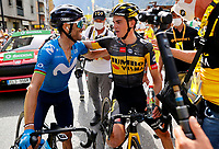11th July 2021, Ceret, Pyrénées-Orientales, France; Tour de France cycling tour, stage 15, Ceret to  Andorre-La-Vieille;    KUSS Sepp (USA) of JUMBO - VISMA celebrates the win & VALVERDE Alejandro (ESP) of MOVISTAR TEAM during stage 15 of the 108th edition of the 2021 Tour de France cycling race, a stage of 191,3 kms between Ceret and Andorre-La-Vieille.