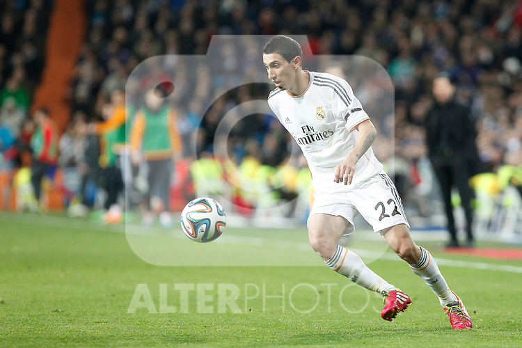 Real Madrid´s Di Maria during King´s Cup (Copa del Rey) semifinal match in Santiago Bernabeu stadium in Madrid, Spain. February 05, 2014. (ALTERPHOTOS/Victor Blanco)