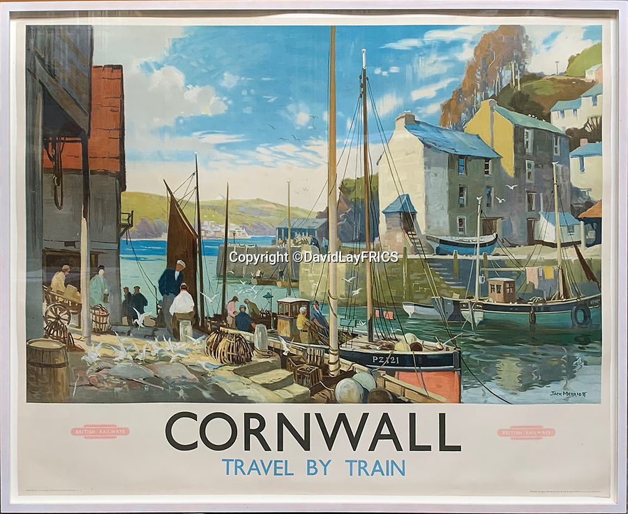 BNPS.co.uk (01202 558833)<br /> Pic: DavidLayFRICS/BNPS<br /> <br /> A British Railways poster promoting Cornwall<br /> <br />  A wonderful collection of vintage British travel posters celebrating the golden age of the seaside getaway have emerged for sale for £15,000.<br /> <br /> The posters were produced by Great Western Railway and British Railways between the 1930s to the 1960s to encourage Brits to holiday on the Cornish coast.<br /> <br /> One striking Art Deco poster issued by Great Western Railway shows a lady in an orange swimsuit at Newquay with surfers in the background. <br /> <br /> It describes the popular holiday destination as 'Cornwall's first Atlantic resort'.<br /> <br /> The collection of about 30 posters has been put together by a private collector over the past two decades who is now selling them with auction house David Lay FRICS, of Penzance, Cornwall.