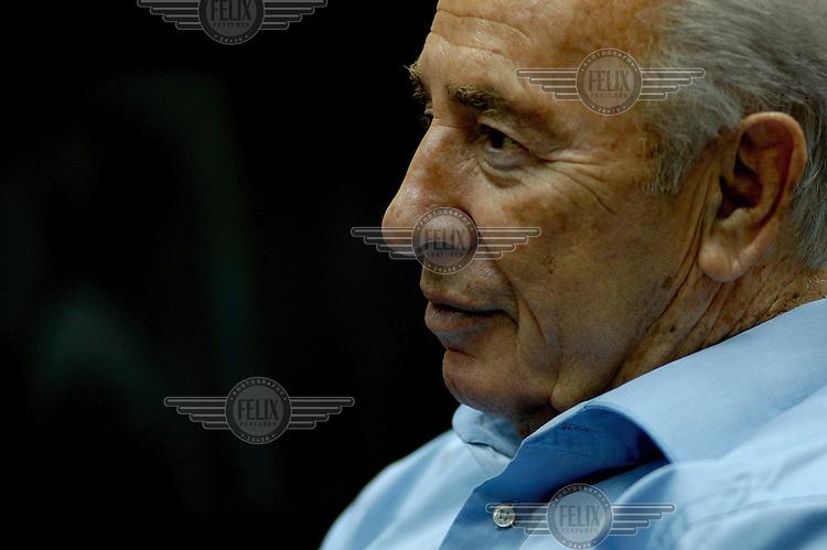 Former Prime Minister Shimon Peres at his office in Tel Aviv.