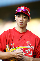 So Taguchi of the St. Louis Cardinals during batting practice before a game from the 2007 season at Dodger Stadium in Los Angeles, California. (Larry Goren/Four Seam Images)