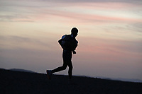 6th October 2021; Etape Mystere ;  Marathon des Sables, stage 4 of  a six-day, 251 km ultramarathon, which is approximately the distance of six regular marathons. The longest single stage is 82 km long. This multiday race is held every year in southern Morocco, in the Sahara Desert. Rachid El Morabity on his way to winning the longest day