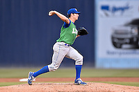 Lexington Legends starting pitcher Corey Ray (18) attempts a pickoff during a game against the Asheville Tourists at McCormick Field on April 19, 2016 in Asheville, North Carolina. The Legends defeated the Tourists 11-9. (Tony Farlow/Four Seam Images)