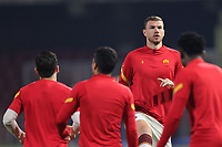 Edin Dzeko of AS Roma during the warm up prior to the Serie A football match between Benevento Calcio and AS Roma at Ciro Vigorito stadium in Benevento (Italy), February 21, 2021. <br /> Photo Cesare Purini / Insidefoto